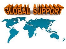 Global help and support. World map in 3d with text global support, world wide support and help concept Royalty Free Stock Photo