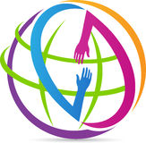 Global helping hands. A vector drawing represents global helping hands design royalty free illustration