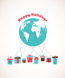 Global Holiday season. world wide gift delivery Royalty Free Stock Images