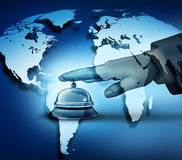 Global Hotel Service. Concept with a human hand ringing a bell on a blue world map background as a hotel symbol of first class international hospitality service Royalty Free Stock Photos