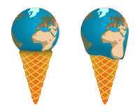 Global ice cream Earth. Global ice cream in the form of the Earth, melting, sweet Stock Photos