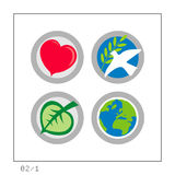 GLOBAL: Icon Set 02 - Version 1. 4 colored icons in a circle shaped buttons about some global affairs: Love, Peace, Ecology, & the Earth. Please check the Stock Images