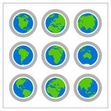 Global Icon Set - Version 1. 9 different colored icons of the Globe in a circle shaped buttons Royalty Free Stock Image