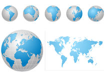 Global icons and map blue and gray Royalty Free Stock Image