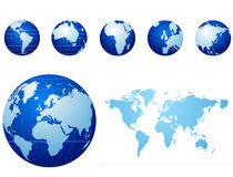 Global icons and map blue and light blue Royalty Free Stock Photos