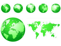 Global icons and map green Stock Photos