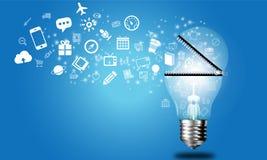 Global idea business. On blue background Stock Image