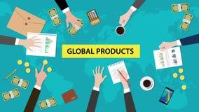 Global illustration för diskussion för produktbegrepp med skrivbordsarbeten, pappers- pengar och mynt överst av tabellen Arkivbild