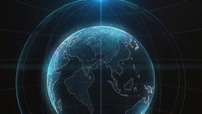 Global infographic hologram. Concept of technology. Hologram of the planet. Perfect for TV business news intro. Blue.  stock video