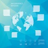 Global infographicsmall Lågt polygonal Arkivbilder