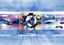 Global information exchange. Illustration of Global information exchange happening in the internet stock illustration