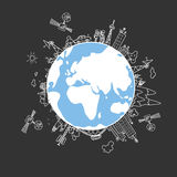 Global information network  on the globe. Global information network on the globe, satellites, antennas, satellite antennas, repeaters, vector illustration Royalty Free Stock Image