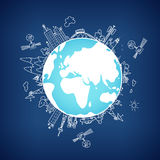 Global information network  on the globe, vector Royalty Free Stock Image