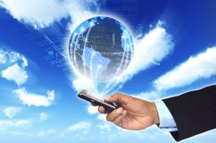 Global Information with smart phone Royalty Free Stock Images