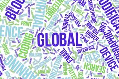 Global, conceptual word cloud for business, information technology or IT. Global, IT, information technology conceptual word cloud for for design wallpaper Stock Photos