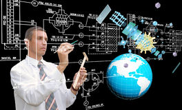 Global innovation engineering connection technology. Creation Royalty Free Stock Image