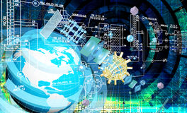Global innovation engineering connection technology. Royalty Free Stock Images