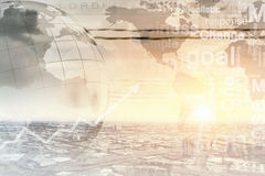 Global interaction. Conceptual image with global financial charts and graphs Royalty Free Stock Image