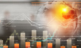 Global interaction. Conceptual image with global financial charts and graphs Stock Images
