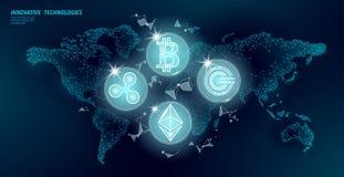 Global international blockchain cryptocurrency. World map low poly modern future finance banking design. Polygonal. Triangle bitcoin ethereum ripple GCC vector illustration