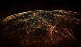 Global International Connectivity Background. Connection lines Around Earth Globe, Futuristic Technology  Theme Background with Light Effect Stock Images