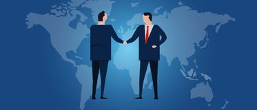 Global international partnership. Diplomacy negotiation. Business relationship agreement handshake. Country flag and map stock illustration
