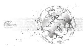 Global internationell blockchaincryptocurrency Bankrörelsen för finans för teknologi för planetutrymme lågt planlägger poly moder vektor illustrationer