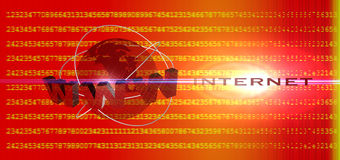 Global internet. Technology red background stock illustration