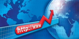 Global internet. An illustration of a globe and internet growth stock illustration