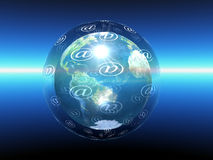 Global Internet. The at sign and globe are symbolic for World wide internet connections Stock Images
