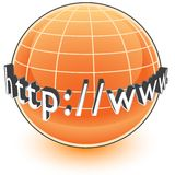 Global Internet Address. A globe surrounded with the beginning of an internet address or url