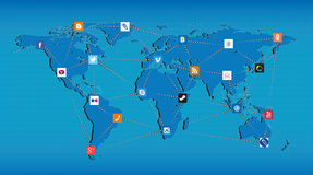 Global Internet communication technologies. Different connected icons of social networks and programs around the world map Royalty Free Stock Images