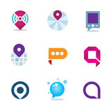 Global internet community in home system positioning logo icon Stock Images
