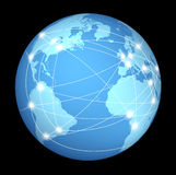 Global internet network. Internet connections and network around the globe represented by a global international sphere on black background showing the Royalty Free Stock Photography