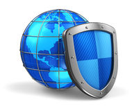 Global and internet security concept. Blue glossy Earth globe covered by metal protection shield isolated on white background Stock Photography