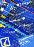 Global Investment Banks. Illustration of trader screens, Logos and Lettering of global Investment Banks: Goldman Sachs, Deutsche Bank, UBS, Bank of America, JP Stock Images