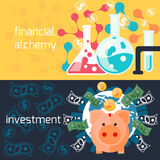 Global investment and financial alchemy concept. Concept of generating money in laboratory with alchemy experiments and global investment with piggy in flat Royalty Free Stock Image