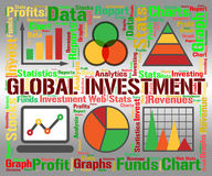 Global Investment Shows Globalization Globalise And Shares. Global Investment Meaning Globalisation Worldwide And Earth Royalty Free Stock Image