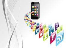 Global iphone apps icons tech background. Smartphone application download on gray background. Vector file layered for easy manipulation and customisation Royalty Free Stock Photos