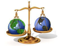 Global justice scale Stock Photos