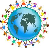 Global kids. A group of diverse and happy kids holding hands around a globe of the world Stock Photography