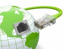 Global kommunikation. Jord och kabel, rj45. Arkivfoton