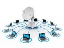 Global kommunikation med satelliten och datoren 3d framför stock illustrationer