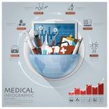 Global läkarundersökning och hälsa Infographic med det runda cirkeldiagrammet stock illustrationer