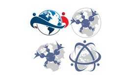Global Leadership Teamwork Solutions Set. Vector Stock Photo