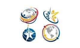 Global Leadership Teamwork Solutions Set. Vector Stock Photo