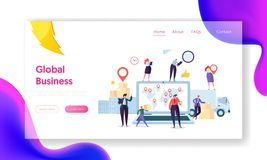 Free Global Logistic Business Team Cooperation Landing Page. Female With Geotag Symbol Stay On Delivery Trailer. Worldwide Royalty Free Stock Image - 137772266