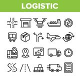 Global Logistic Department Linear Vector Icons Set royalty free illustration