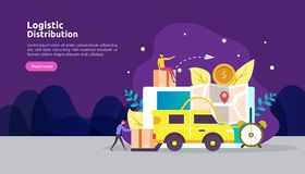 global logistic distribution service illustration concept. delivery worldwide import export shipping banner with people character stock illustration