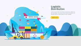 global logistic distribution service illustration concept. delivery worldwide import export shipping banner with people character vector illustration